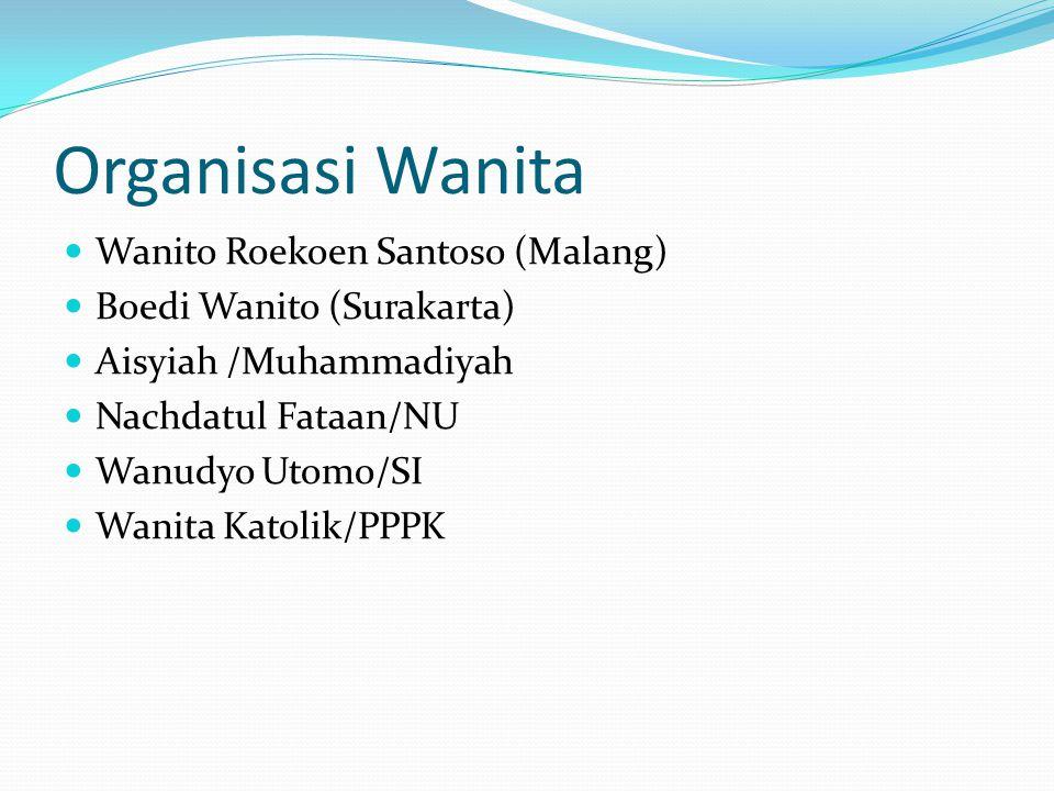 Organisasi Wanita Wanito Roekoen Santoso (Malang) Boedi Wanito (Surakarta) Aisyiah /Muhammadiyah Nachdatul Fataan/NU Wanudyo Utomo/SI Wanita Katolik/PPPK