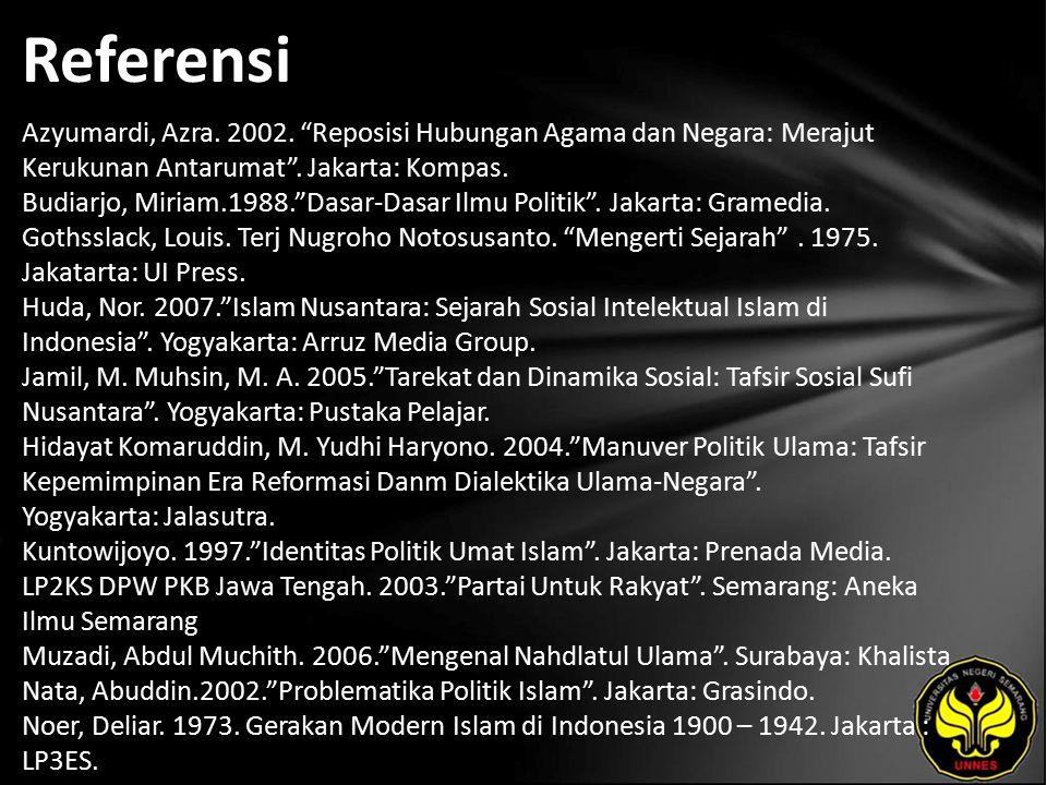 Referensi Azyumardi, Azra.2002. Reposisi Hubungan Agama dan Negara: Merajut Kerukunan Antarumat .