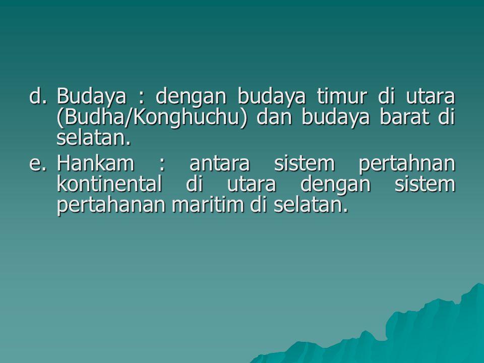 d.Budaya : dengan budaya timur di utara (Budha/Konghuchu) dan budaya barat di selatan. e.Hankam : antara sistem pertahnan kontinental di utara dengan