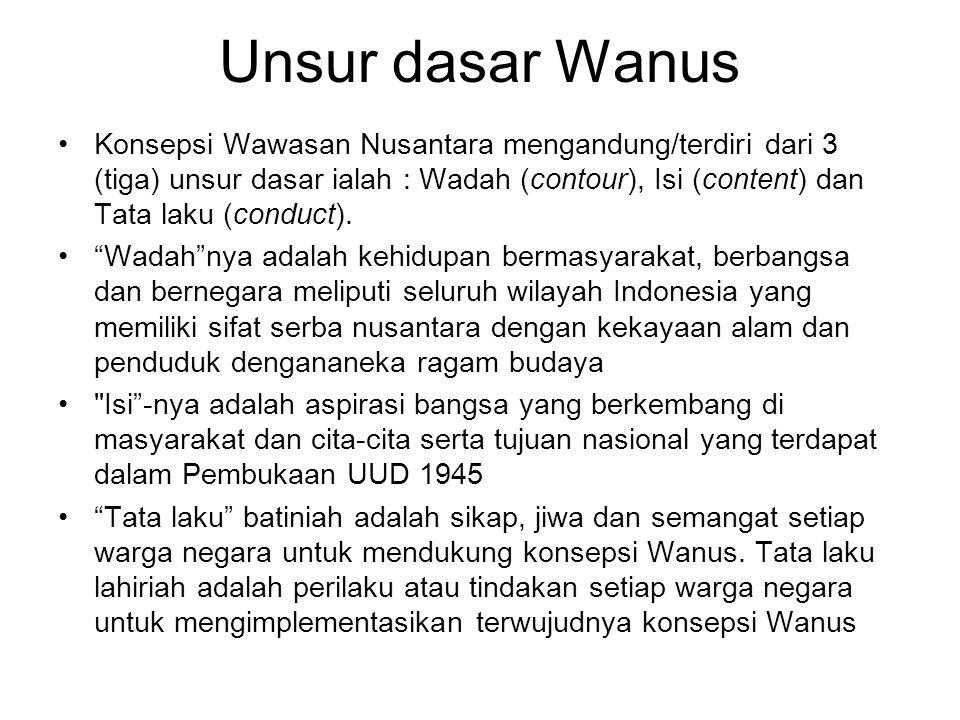 Unsur dasar Wanus Konsepsi Wawasan Nusantara mengandung/terdiri dari 3 (tiga) unsur dasar ialah : Wadah (contour), Isi (content) dan Tata laku (conduct).