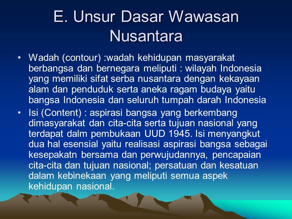 E. Unsur Dasar Wawasan Nusantara Wadah (contour) :wadah kehidupan masyarakat berbangsa dan bernegara meliputi : wilayah Indonesia yang memiliki sifat