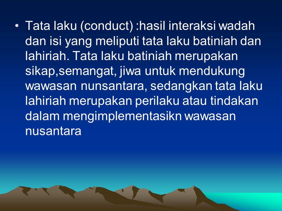 Tata laku (conduct) :hasil interaksi wadah dan isi yang meliputi tata laku batiniah dan lahiriah. Tata laku batiniah merupakan sikap,semangat, jiwa un