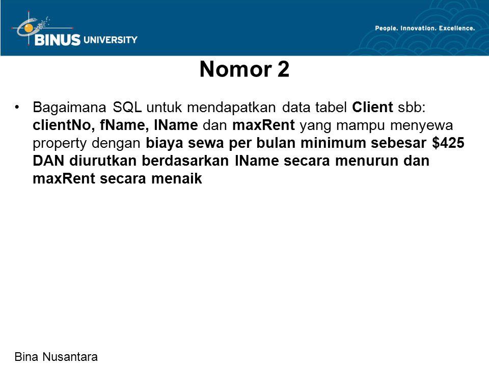Bina Nusantara Nomor 2 Bagaimana SQL untuk mendapatkan data tabel Client sbb: clientNo, fName, lName dan maxRent yang mampu menyewa property dengan biaya sewa per bulan minimum sebesar $425 DAN diurutkan berdasarkan lName secara menurun dan maxRent secara menaik