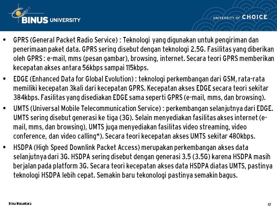 Bina Nusantara GPRS (General Packet Radio Service) : Teknologi yang digunakan untuk pengiriman dan penerimaan paket data.