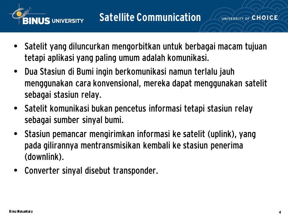 Bina Nusantara 4 Satellite Communication Satelit yang diluncurkan mengorbitkan untuk berbagai macam tujuan tetapi aplikasi yang paling umum adalah komunikasi.