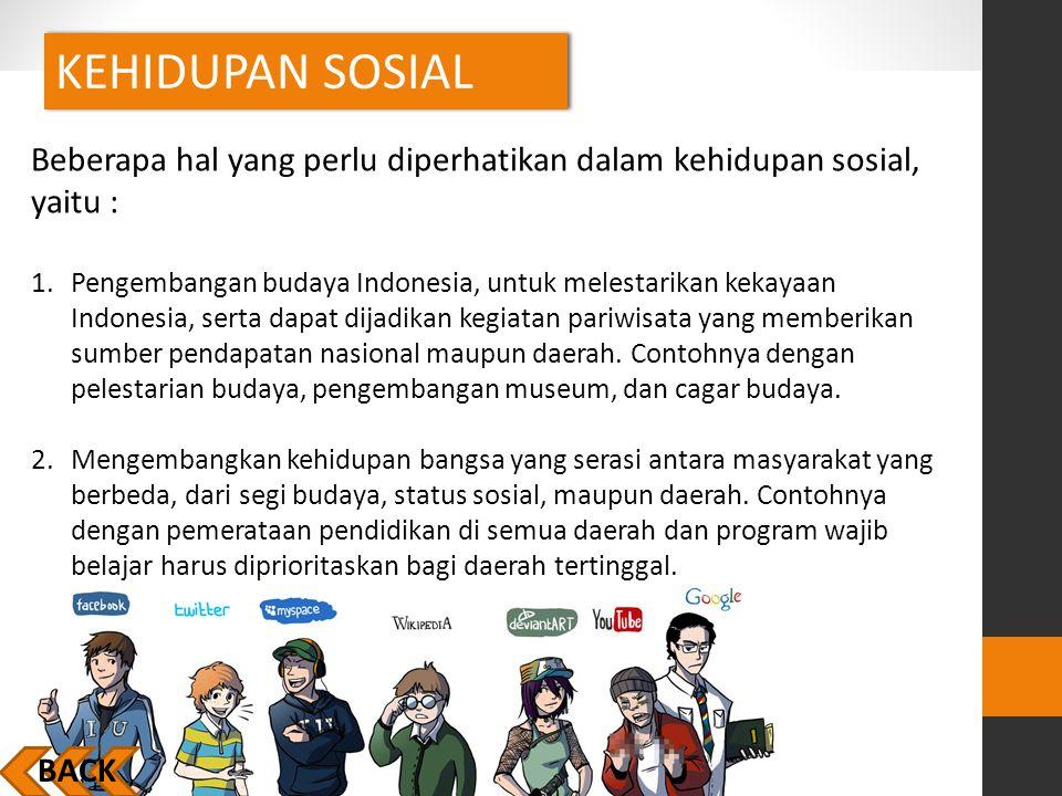 KEHIDUPAN SOSIAL BACK Beberapa hal yang perlu diperhatikan dalam kehidupan sosial, yaitu : 1.Pengembangan budaya Indonesia, untuk melestarikan kekayaa