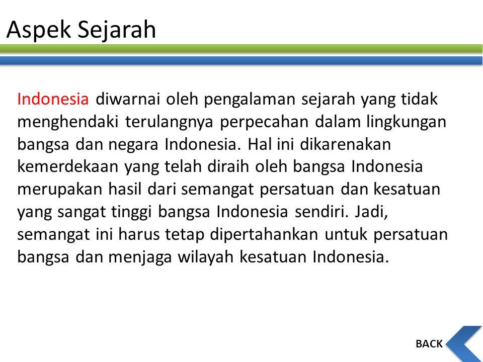 Aspek Sejarah Indonesia diwarnai oleh pengalaman sejarah yang tidak menghendaki terulangnya perpecahan dalam lingkungan bangsa dan negara Indonesia. H