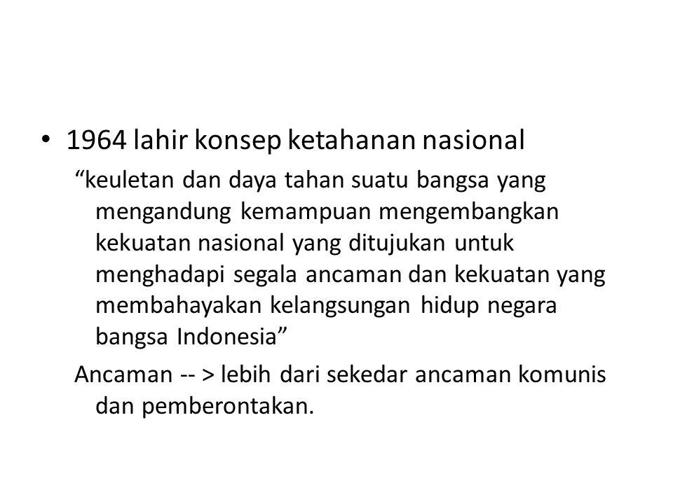 """1964 lahir konsep ketahanan nasional """"keuletan dan daya tahan suatu bangsa yang mengandung kemampuan mengembangkan kekuatan nasional yang ditujukan un"""