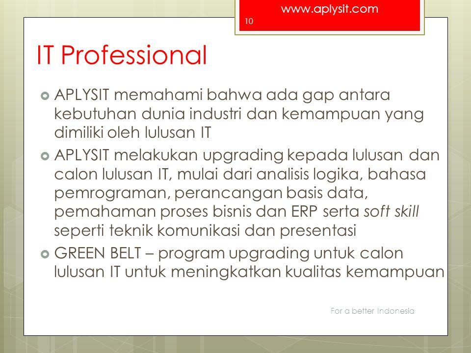 www.aplysit.com IT Professional  APLYSIT memahami bahwa ada gap antara kebutuhan dunia industri dan kemampuan yang dimiliki oleh lulusan IT  APLYSIT
