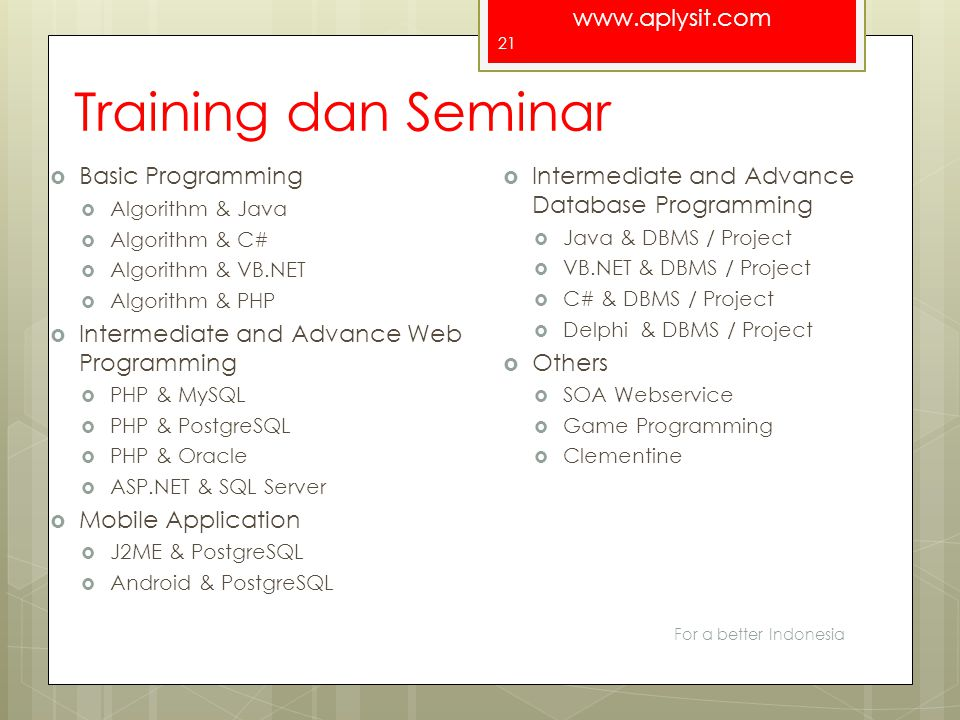 www.aplysit.com Training dan Seminar  Basic Programming  Algorithm & Java  Algorithm & C#  Algorithm & VB.NET  Algorithm & PHP  Intermediate and