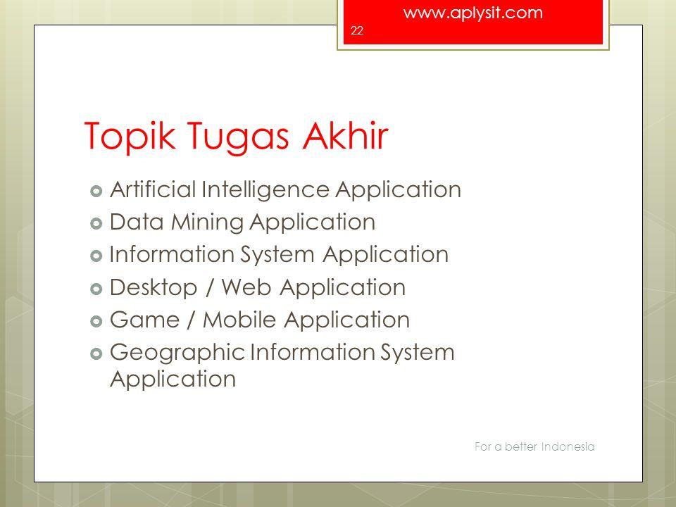 www.aplysit.com Topik Tugas Akhir  Artificial Intelligence Application  Data Mining Application  Information System Application  Desktop / Web App