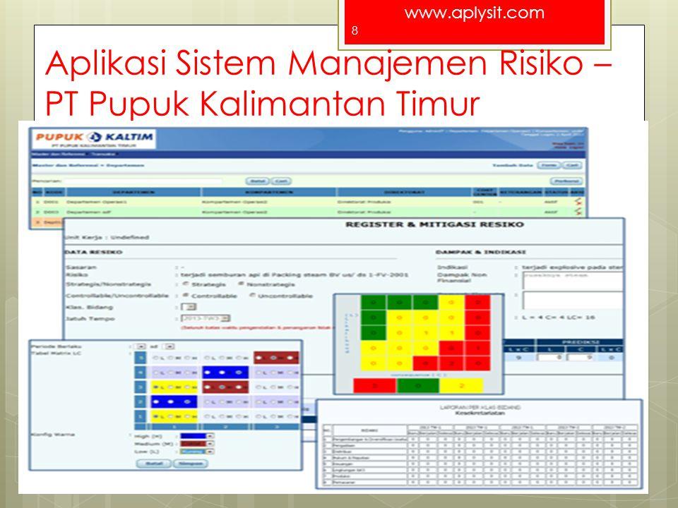 www.aplysit.com Aplikasi Sistem Manajemen Risiko – PT Pupuk Kalimantan Timur For a better Indonesia 8