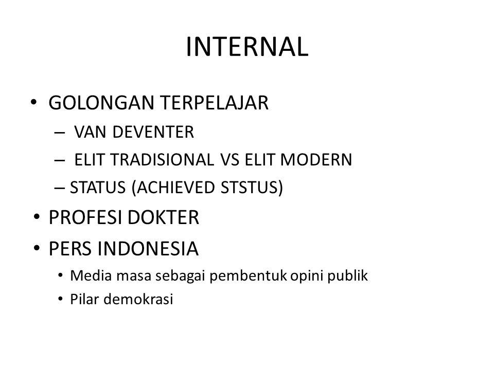 INTERNAL GOLONGAN TERPELAJAR – VAN DEVENTER – ELIT TRADISIONAL VS ELIT MODERN – STATUS (ACHIEVED STSTUS) PROFESI DOKTER PERS INDONESIA Media masa seba