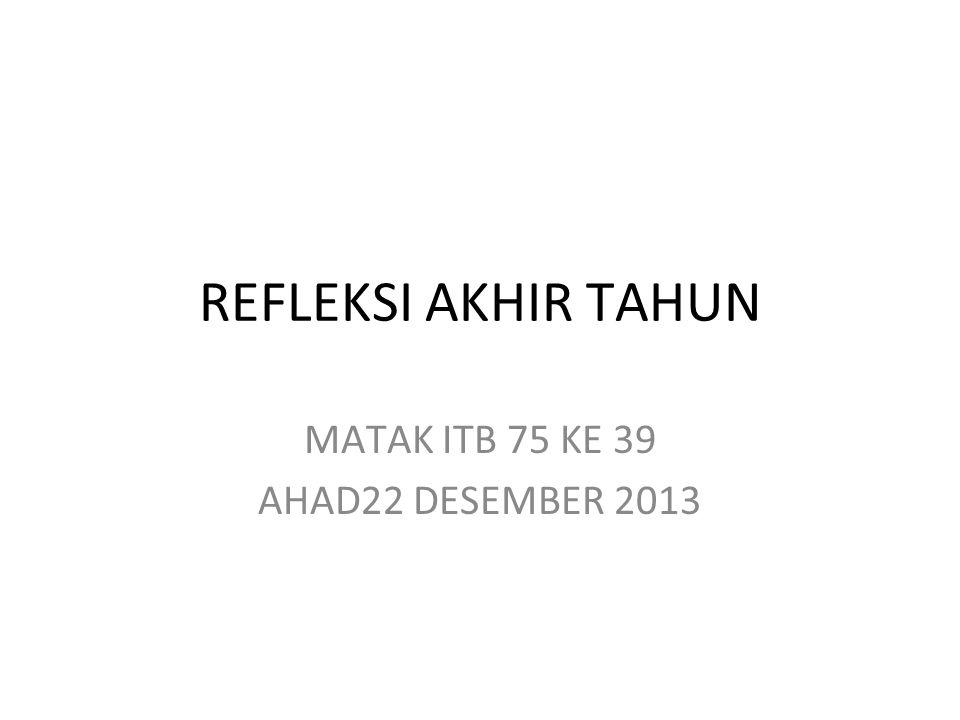REFLEKSI AKHIR TAHUN MATAK ITB 75 KE 39 AHAD22 DESEMBER 2013