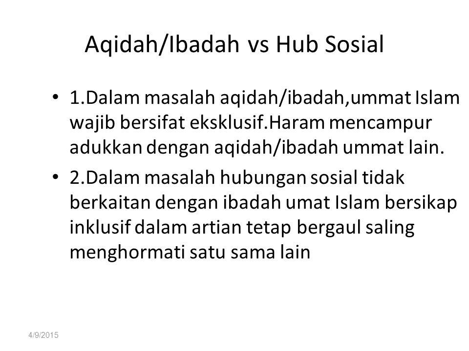 4/9/2015 Aqidah/Ibadah vs Hub Sosial 1.Dalam masalah aqidah/ibadah,ummat Islam wajib bersifat eksklusif.Haram mencampur adukkan dengan aqidah/ibadah ummat lain.