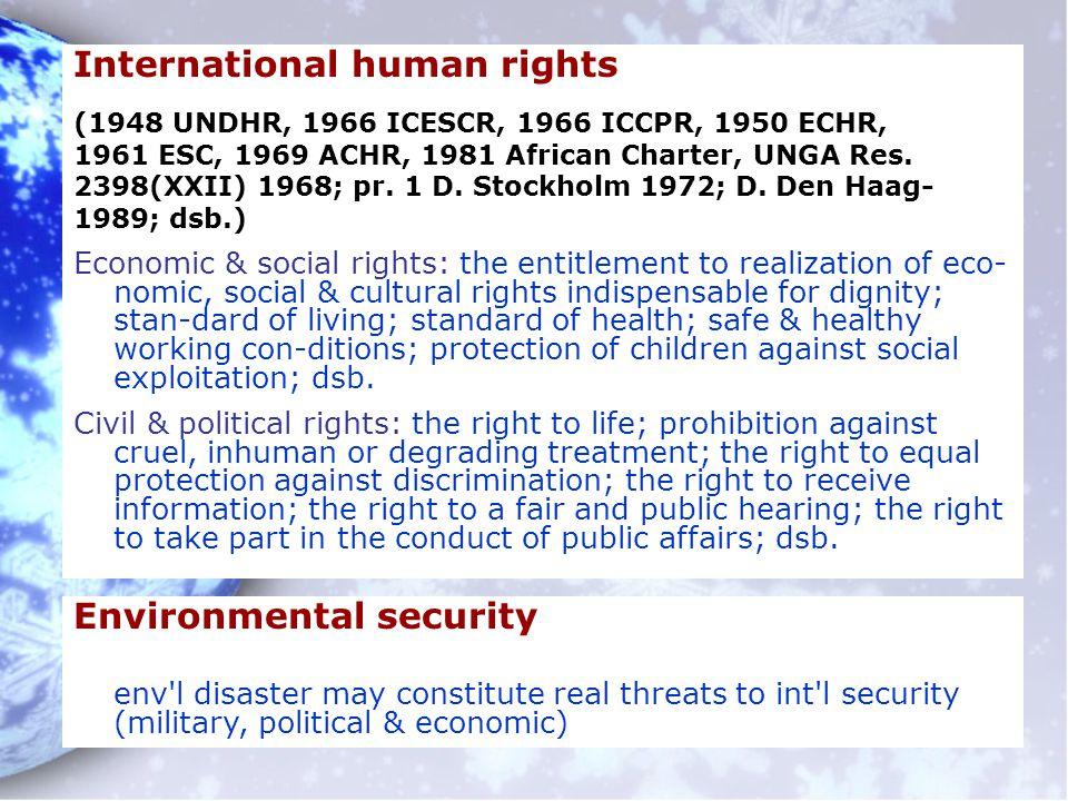 International human rights (1948 UNDHR, 1966 ICESCR, 1966 ICCPR, 1950 ECHR, 1961 ESC, 1969 ACHR, 1981 African Charter, UNGA Res. 2398(XXII) 1968; pr.
