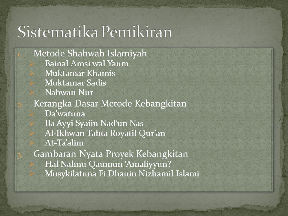 1. Metode Shahwah Islamiyah  Bainal Amsi wal Yaum  Muktamar Khamis  Muktamar Sadis  Nahwan Nur 2. Kerangka Dasar Metode Kebangkitan  Da'watuna 