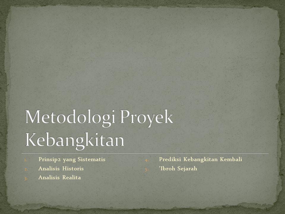 1. Prinsip2 yang Sistematis 2. Analisis Historis 3. Analisis Realita 4. Prediksi Kebangkitan Kembali 5. 'Ibroh Sejarah