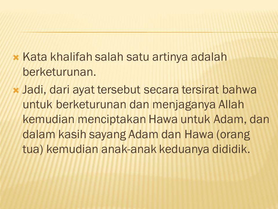  Kata khalifah salah satu artinya adalah berketurunan.  Jadi, dari ayat tersebut secara tersirat bahwa untuk berketurunan dan menjaganya Allah kemud