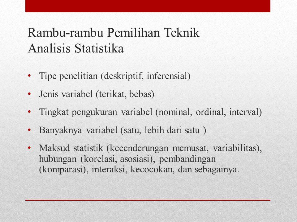 Rambu-rambu Pemilihan Teknik Analisis Statistika Tipe penelitian (deskriptif, inferensial) Jenis variabel (terikat, bebas) Tingkat pengukuran variabel