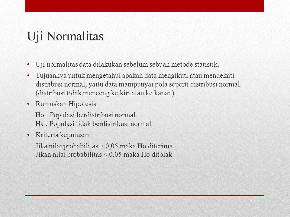 Uji Normalitas Uji normalitas data dilakukan sebelum sebuah metode statistik. Tujuannya untuk mengetahui apakah data mengikuti atau mendekati distribu