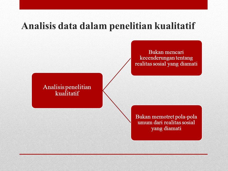 Analisis data dalam penelitian kualitatif Analisis penelitian kualitatif Bukan mencari kecenderungan tentang realitas sosial yang diamati Bukan memotr