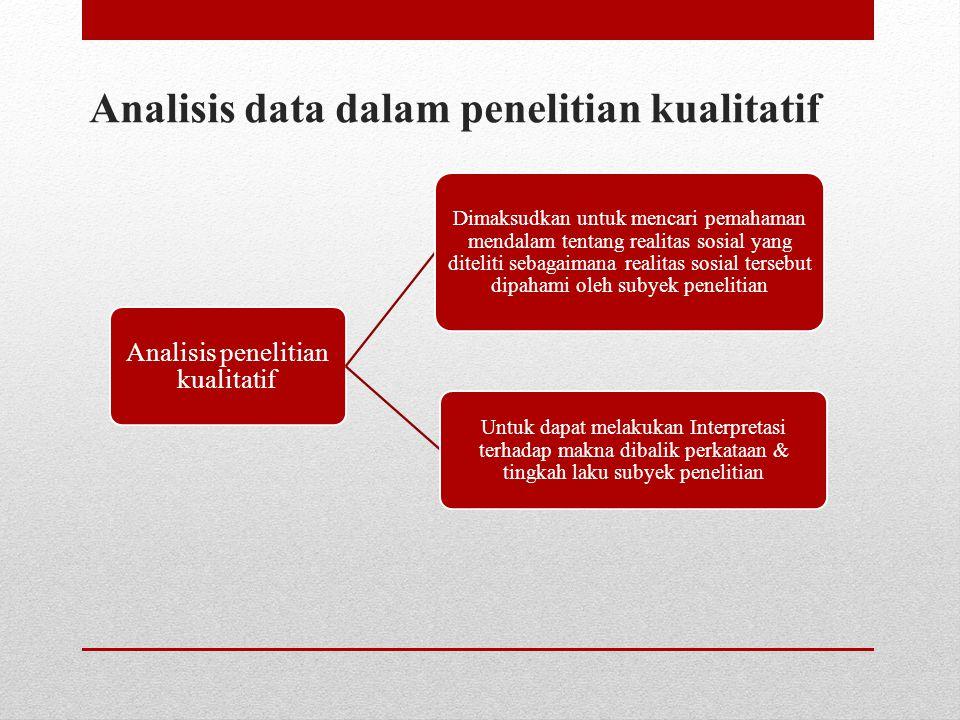 Analisis data dalam penelitian kualitatif Analisis penelitian kualitatif Dimaksudkan untuk mencari pemahaman mendalam tentang realitas sosial yang dit
