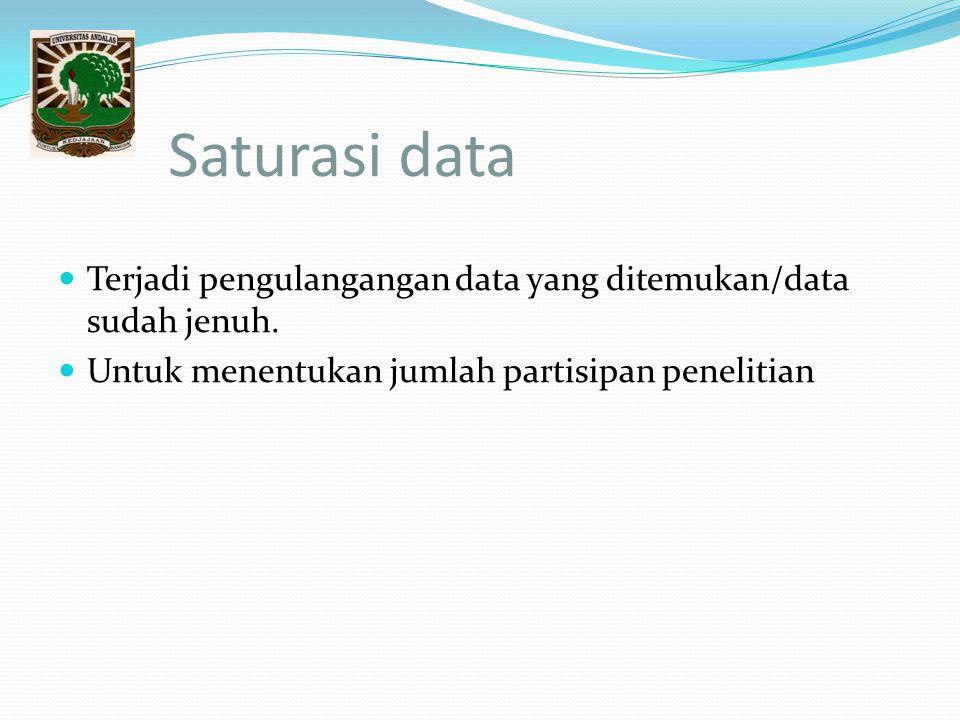 Saturasi data Terjadi pengulangangan data yang ditemukan/data sudah jenuh. Untuk menentukan jumlah partisipan penelitian