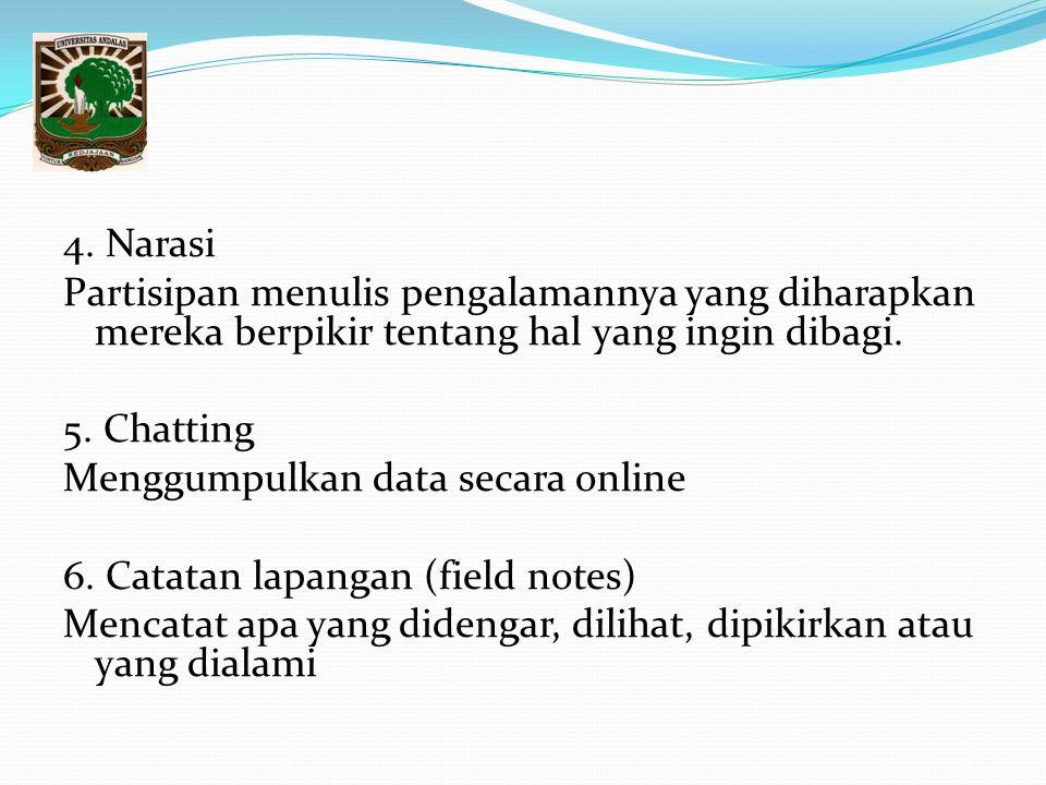 4. Narasi Partisipan menulis pengalamannya yang diharapkan mereka berpikir tentang hal yang ingin dibagi. 5. Chatting Menggumpulkan data secara online