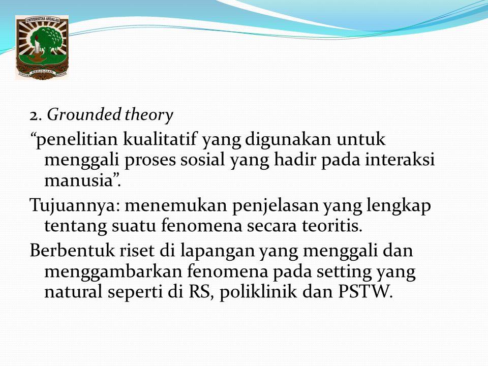 """2. Grounded theory """" penelitian kualitatif yang digunakan untuk menggali proses sosial yang hadir pada interaksi manusia"""". Tujuannya: menemukan penjel"""