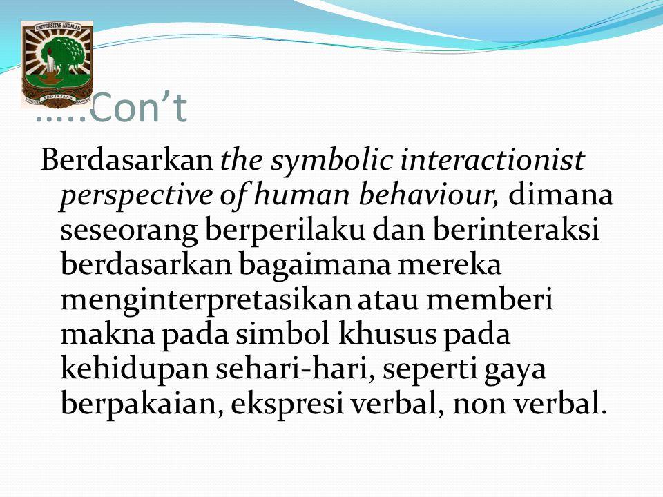 …..Con't Berdasarkan the symbolic interactionist perspective of human behaviour, dimana seseorang berperilaku dan berinteraksi berdasarkan bagaimana m