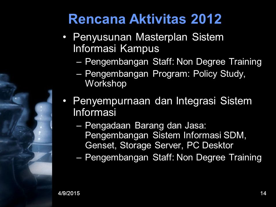 4/9/201514 Rencana Aktivitas 2012 Penyusunan Masterplan Sistem Informasi Kampus –Pengembangan Staff: Non Degree Training –Pengembangan Program: Policy Study, Workshop Penyempurnaan dan Integrasi Sistem Informasi –Pengadaan Barang dan Jasa: Pengembangan Sistem Informasi SDM, Genset, Storage Server, PC Desktor –Pengembangan Staff: Non Degree Training