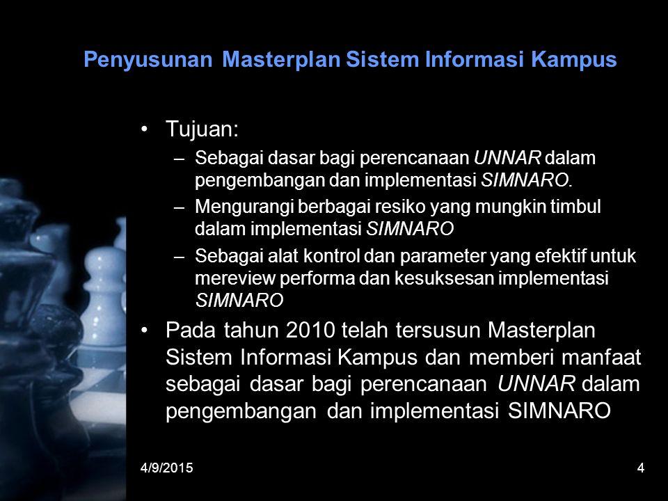 4/9/20154 Penyusunan Masterplan Sistem Informasi Kampus Tujuan: –Sebagai dasar bagi perencanaan UNNAR dalam pengembangan dan implementasi SIMNARO. –Me