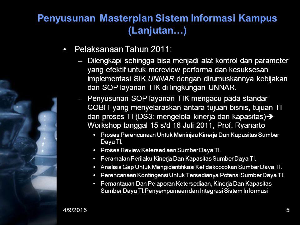 4/9/20155 Penyusunan Masterplan Sistem Informasi Kampus (Lanjutan…) Pelaksanaan Tahun 2011: –Dilengkapi sehingga bisa menjadi alat kontrol dan paramet
