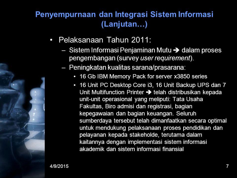 4/9/20157 Penyempurnaan dan Integrasi Sistem Informasi (Lanjutan…) Pelaksanaan Tahun 2011: –Sistem Informasi Penjaminan Mutu  dalam proses pengembangan (survey user requirement).