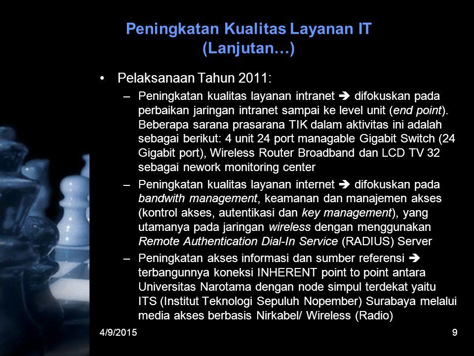 4/9/20159 Peningkatan Kualitas Layanan IT (Lanjutan…) Pelaksanaan Tahun 2011: –Peningkatan kualitas layanan intranet  difokuskan pada perbaikan jaringan intranet sampai ke level unit (end point).