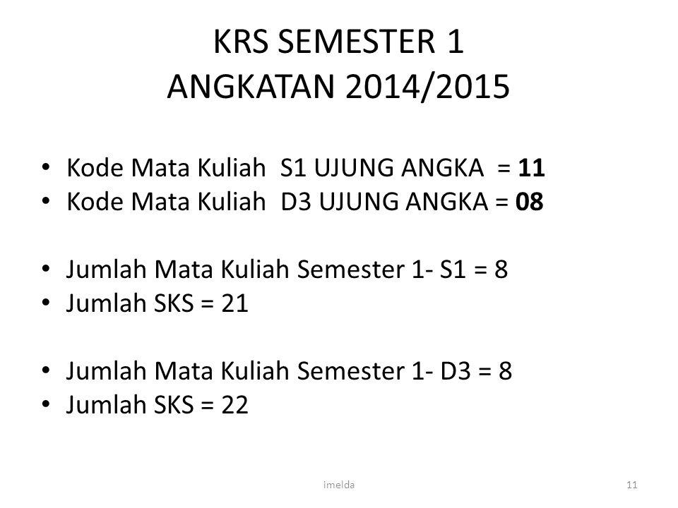 KRS SEMESTER 1 ANGKATAN 2014/2015 Kode Mata Kuliah S1 UJUNG ANGKA = 11 Kode Mata Kuliah D3 UJUNG ANGKA = 08 Jumlah Mata Kuliah Semester 1- S1 = 8 Juml