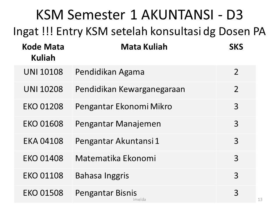 KSM Semester 1 AKUNTANSI - D3 Ingat !!! Entry KSM setelah konsultasi dg Dosen PA Kode Mata Kuliah Mata KuliahSKS UNI 10108Pendidikan Agama2 UNI 10208P