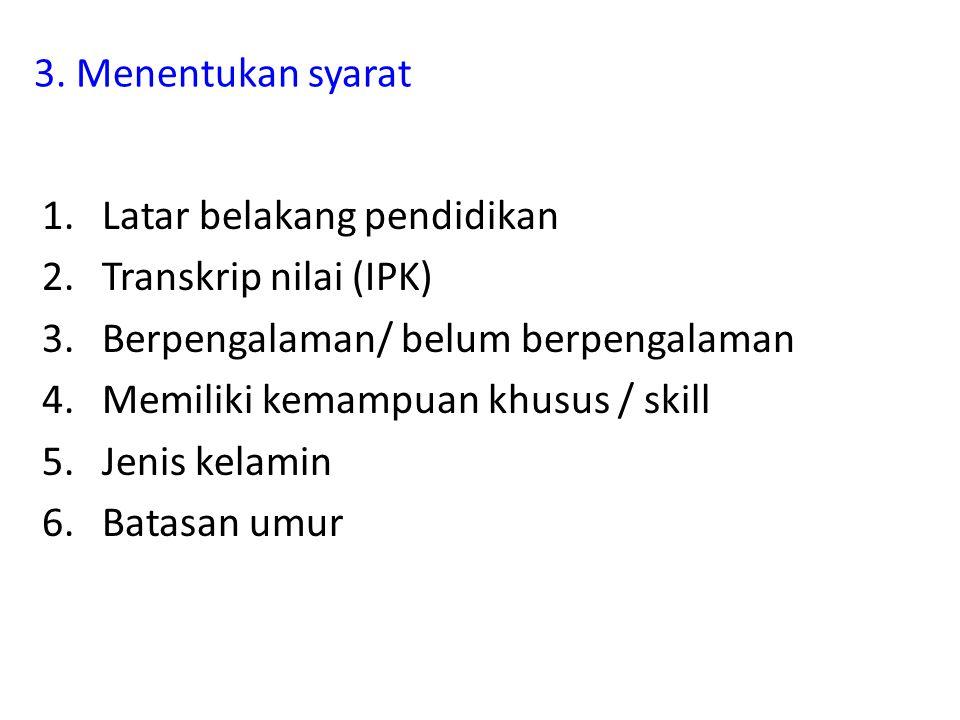 3. Menentukan syarat 1.Latar belakang pendidikan 2.Transkrip nilai (IPK) 3.Berpengalaman/ belum berpengalaman 4.Memiliki kemampuan khusus / skill 5.Je