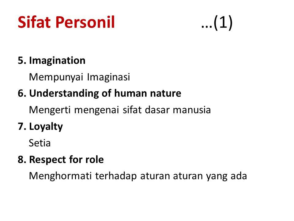 Sifat Personil …(1) 5. Imagination Mempunyai Imaginasi 6.