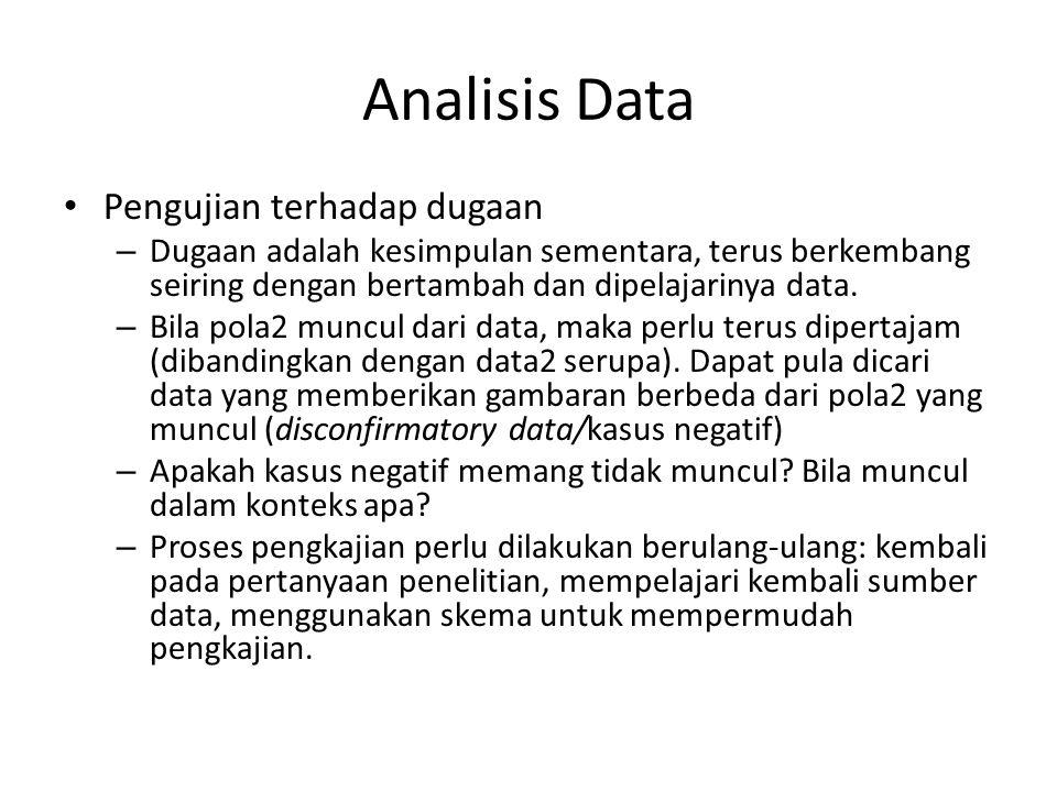 Analisis Data Pengujian terhadap dugaan – Dugaan adalah kesimpulan sementara, terus berkembang seiring dengan bertambah dan dipelajarinya data.