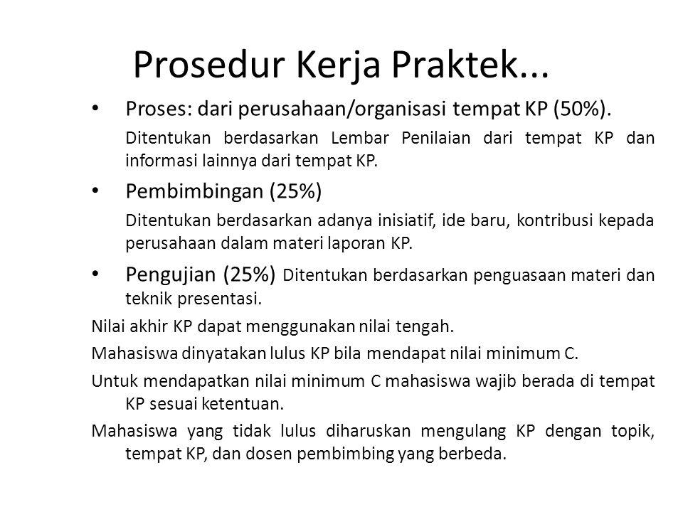 Prosedur Kerja Praktek... Proses: dari perusahaan/organisasi tempat KP (50%). Ditentukan berdasarkan Lembar Penilaian dari tempat KP dan informasi lai