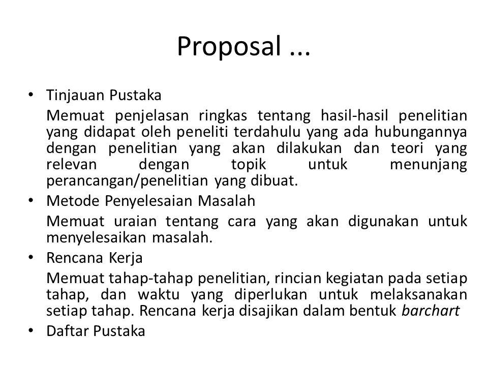 Proposal... Tinjauan Pustaka Memuat penjelasan ringkas tentang hasil-hasil penelitian yang didapat oleh peneliti terdahulu yang ada hubungannya dengan