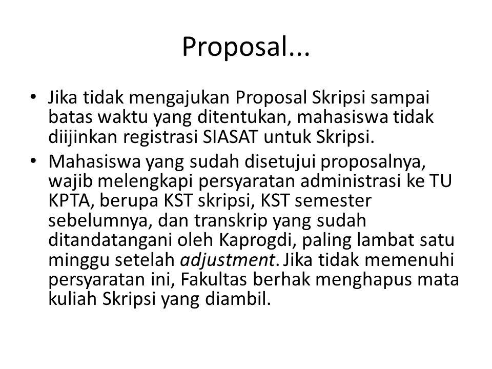 Proposal... Jika tidak mengajukan Proposal Skripsi sampai batas waktu yang ditentukan, mahasiswa tidak diijinkan registrasi SIASAT untuk Skripsi. Maha