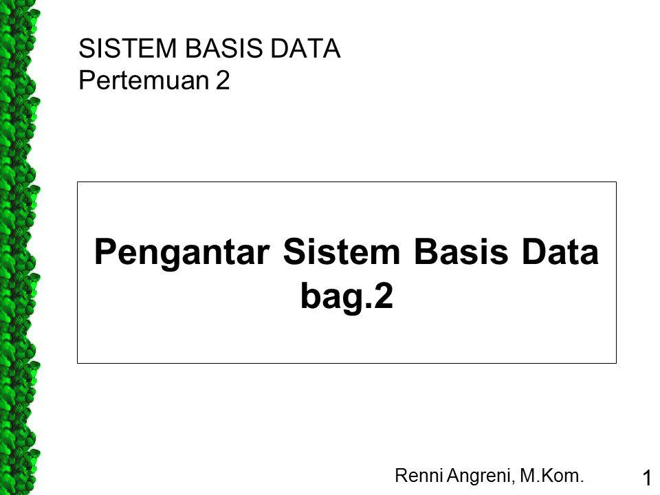 SISTEM BASIS DATA Pertemuan 2 Renni Angreni, M.Kom. 1 Pengantar Sistem Basis Data bag.2