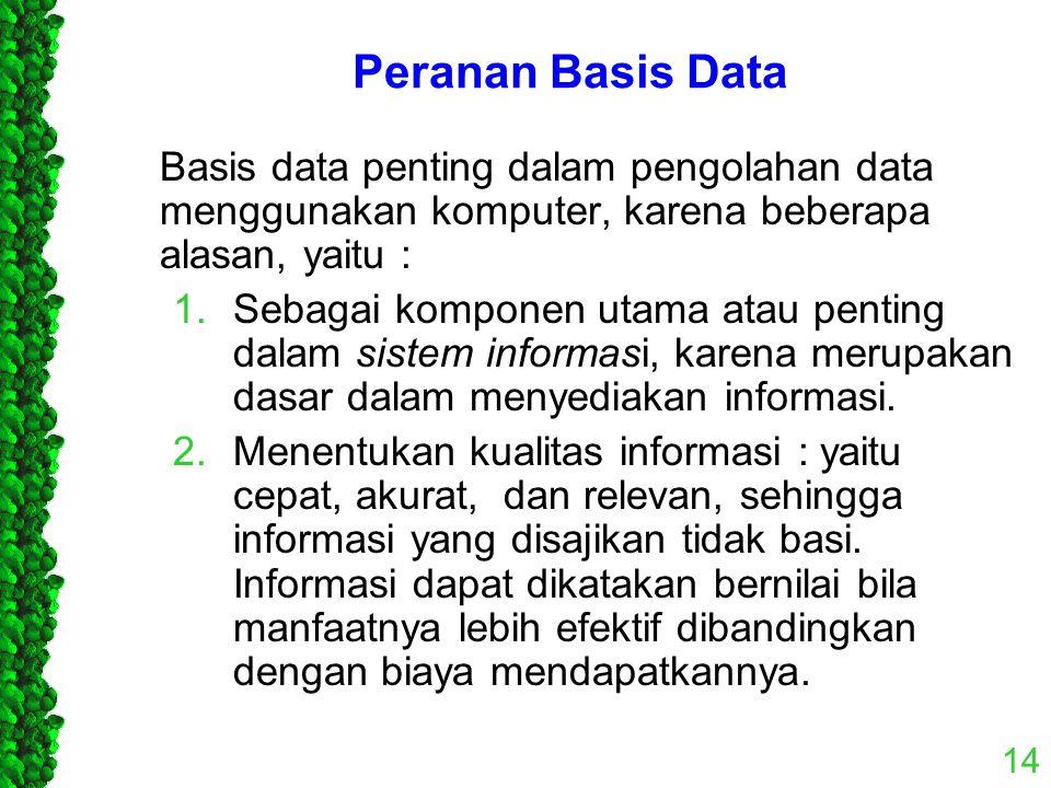 Peranan Basis Data Basis data penting dalam pengolahan data menggunakan komputer, karena beberapa alasan, yaitu : 1.Sebagai komponen utama atau pentin
