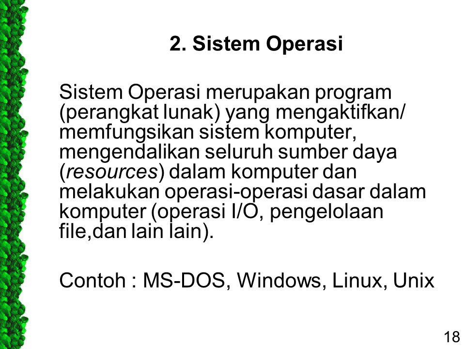 2. Sistem Operasi Sistem Operasi merupakan program (perangkat lunak) yang mengaktifkan/ memfungsikan sistem komputer, mengendalikan seluruh sumber day
