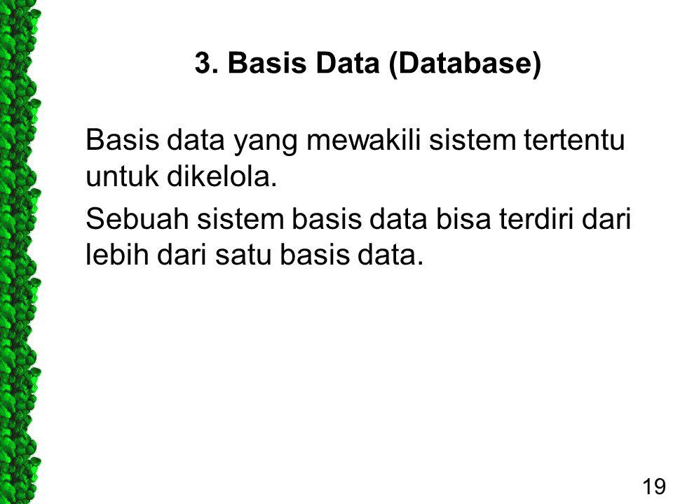 3. Basis Data (Database) Basis data yang mewakili sistem tertentu untuk dikelola. Sebuah sistem basis data bisa terdiri dari lebih dari satu basis dat