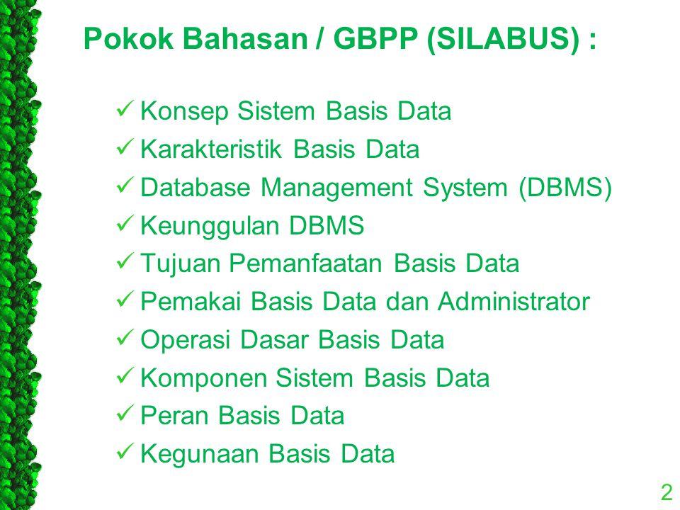 2 Pokok Bahasan / GBPP (SILABUS) : Konsep Sistem Basis Data Karakteristik Basis Data Database Management System (DBMS) Keunggulan DBMS Tujuan Pemanfaa