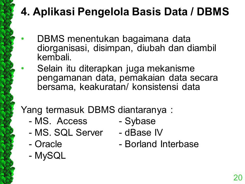 4. Aplikasi Pengelola Basis Data / DBMS DBMS menentukan bagaimana data diorganisasi, disimpan, diubah dan diambil kembali. Selain itu diterapkan juga